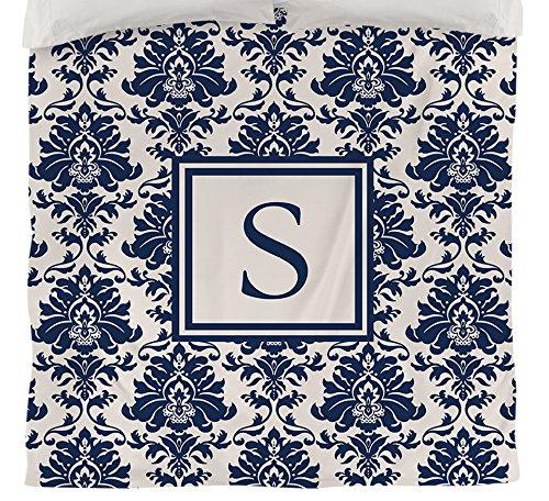 Manuelle holzverarbeiter & Weavers Bettbezug-, Monogramm Buchstabe S, blau Damast (King-size-bett Gerahmt)