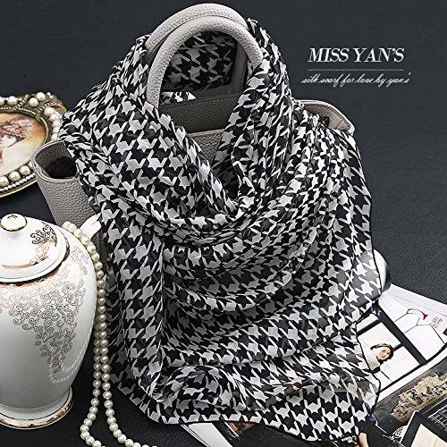 Upper-Plover 100% soie à carreaux soie foulards écharpe foulards femmes longue Fine au printemps automne et d'hiver et printemps sauvages 200*65cm