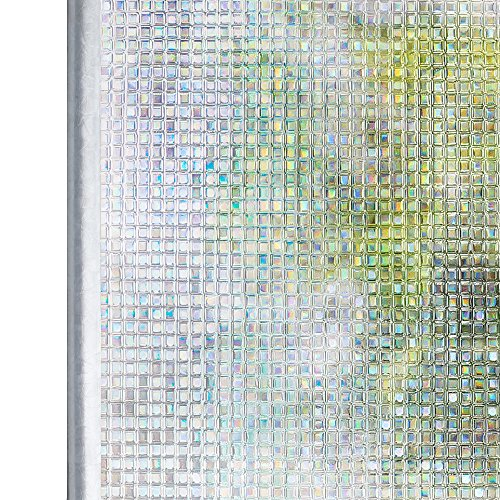 Homein Privacy Window Film Mosaic Pattern 44.5x200CM Thick Upgrade, Self Adhesive Rainbow Effect Decorative Glass Frosted Sticker Static Cling Anti UV Reusable Obscure Door Blackout Blind for Bedroom