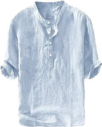 FUERI Mens Linen Henley T Shirts Short Sleeve Shirts Cotton Button Up Casual Summer Grandad Tee Tops