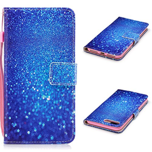 iPhone 7 Plus Hülle,Fodlon® Mode Gemalt Karte Schlitze mit Schlüsselband Telefon Schutzhülle -Weiße Katze Blauer Sand