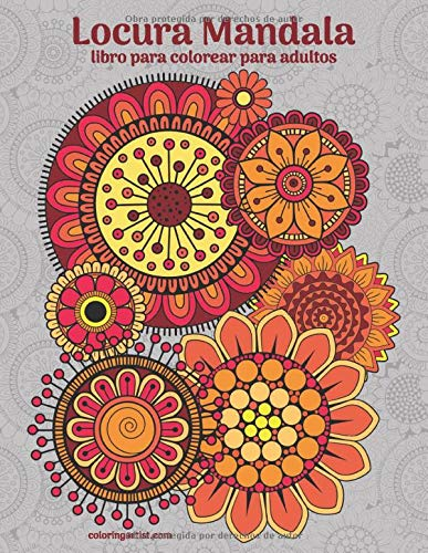 Locura Mandala libro para colorear para adultos