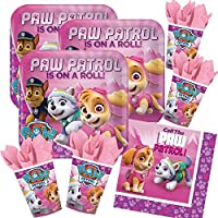 52-teiliges Party-Set Paw Patrol Pink - Teller Becher Servietten für 16 Kinder