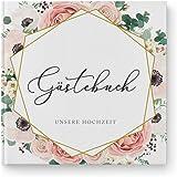 DeinWeddingshop Gästebuch mit Fragen Hochzeit - Hardcover Buch quadratisch - Hochzeitsgästebuch Hochzeitsalbum Hochzeitsbuch (Modern Floral Boho)