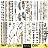 10 Blatt Metallic Tattoos für die Haut Flash Tattoos Gold Silber Tattoo Modeschmuck Partyschmuck Armband Armring Körpe