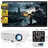 CAIWEI Portable LED Home Cinema Theater Projector 4500 Lumens 1080P HD Support, LCD Projector for Movie Gaming Art Outdoor Party, Multimedia Video Projector with HDMI Cable for Smartphone Mac Laptop PC DVD PS4 USB (White)