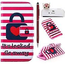 Felfy Love Heart Lock Stripes PU Cuero Billetera Funda Flip Carcasa Para Samsung Galaxy S3 i9300 + 1x Rojo Búho Enchufe del Polvo + 1x Rojo Lápiz Táctil