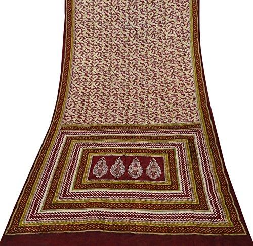 Sari Aus Reiner Seide (Vintage indischer roter Reiner Seide Saree Blatt gedruckt Ethnic Stoff Gebrauchte Sari 5 YD)