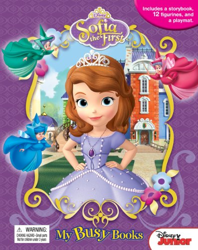 Disney Junior SOFIA THE FIRST MY BUSY BOOKS / ACTIVITY KIT / PLAY SET - Includes a Disney Frozen Storybook / Boardbook | 12 figurines | a huge playmat *** (Age: 3+)