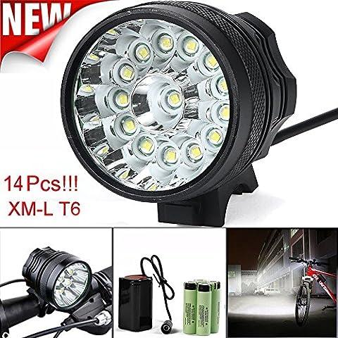 Lampe de vélo, 10principales 14x T6LED 14000lumens 3modes lampe frontale LED ultra lumineux Vélo Tête lampe de poche avec batterie rechargeable et de charge pour le camping chasse randonnée et activités de plein air