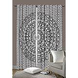 "Indian Elephant Mandala Bedroom Window Curtains, Tapestry Drapes, Window Treatment Panels, Boho Decor Panel Set 80 x 78"""