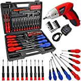 SPARES2GO 84 Piece Cordless Rechargeable Magnetic and Precision Screwdriver & Bit Tool Set