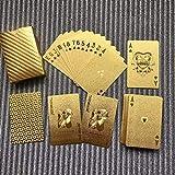 Kaemma Wasserdichtes Design goldene Spielkarten langlebig verwendung goldfolie Poker Spielkarten spieltisch Spiele(Color:Gold)
