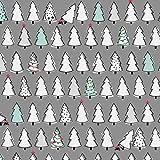 Weihnachten Stoff–Weihnachten Bäume grau