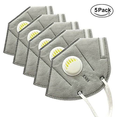 ti Verschmutzung Maske Unisex Outdoor Schutz N95 4 Ebene Filter Anti Staub Maske mit Ausatemventil (5er Packung) (Ebene Maske)