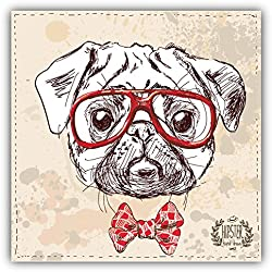 Pegatina de Vinilo Hipster Pug Dog Head Sketch
