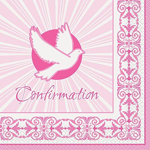 strahlend Kreuz pink Konfirmation Servietten, 16Stück (Bestätigung Party)
