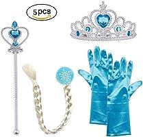 Vicloon, Set da Principessa Dei Ghiacci, Diadema, Guanti, Bacchetta Magica e Treccia a Clip 2-9 Anni, Azzurro