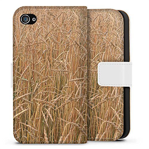Apple iPhone X Silikon Hülle Case Schutzhülle Kornfeld Landschaft Feld Sideflip Tasche weiß