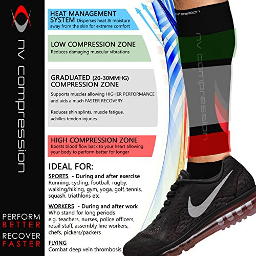 NV-Compression-Essential-Race-and-Recover-Calf-GuardsSleeves-PAIR-20-30mmHg-For-Sports-Recovery-Shin-Splints-Medical-Work-Flight-Running-Cycling-Soccer-Rugby-Fitness-Gym