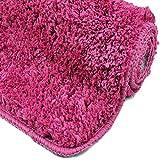 WohnDirect Badezimmerteppich | Badematte zum Set kombinierbar - kuscheliger Hochflor | Rutschfester Badvorleger | WC Garnitur - Waschbarer Badteppich - 45x45cm OHNE WC Ausschnitt | Pink