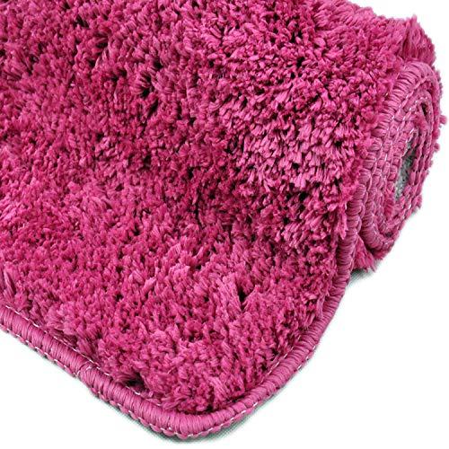 WohnDirect Badezimmerteppich   Badematte zum Set kombinierbar - kuscheliger Hochflor   Rutschfester Badvorleger   WC Garnitur - Waschbarer Badteppich - 50x80cm   Pink