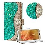 Diamant Brieftasche Hülle für Galaxy J4 2018,Grün Wallet Handyhülle für Galaxy J4 2018,Moiky Ultra Dünn Stilvoll Laser Glitzer Farbe Block Klappbar Stand Silikon Handytasche