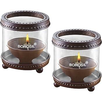 Borosil Decorative Diya Lights (Medium, Set of 2)