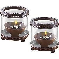 Borosil Decorative Medium Diya Lights (Set of 2)