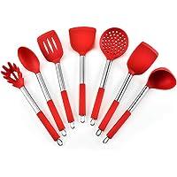 Lot de 7 ustensiles de cuisine en acier inoxydable et silicone - Antiadhésifs et résistants à la chaleur - Rouge