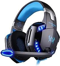Gaming Headset, EasySMX PC Gaming Headset mit Lautstärkeregelung, Stereo Over Ear Kopfhörer mit Mikrofon, LED-Leuchten für Laptop, Notebook, Desktop, Computer Spieler