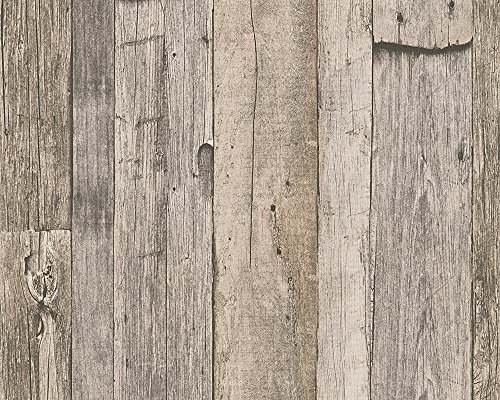 A.S. Création Vliestapete Dekora Natur Tapete in Vintage Holzoptik 10,05 m x 0,53 m beige creme schwarz Made in Germany 959312 95931-2 (Und Tapete Schwarz Creme)