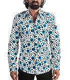 70er Muster Punkte Hemd Dots Blau XL