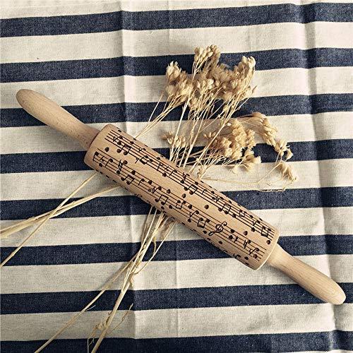 SatinGold Weihnachten Pr?ge Nudelholz, 3D Holz Nudelholz mit Musiknote Symbole, Teigrolle Muster Pr?Gerolle, DIY Küchenhelfer, Backzubeh?R für Fondant Teig Pizza Amygline Keks