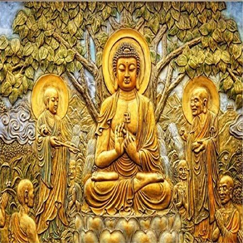 Benutzerdefinierte Tapete Goldene Relief Linden Baum Buddha Tv Hintergrund Wand Wohnzimmer Schlafzimmer Hintergrund Wandbild 3D Tapete, 200 * 140 Cm Linden Wallpaper