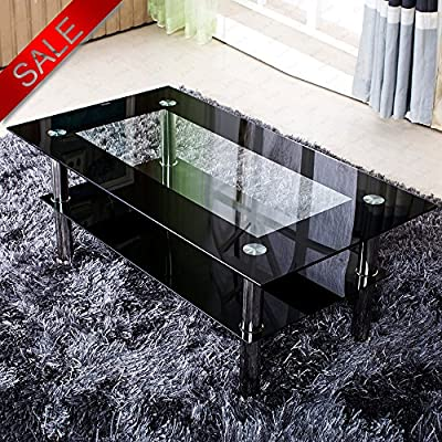 Schindora® Modern Tempered Glass Coffee Table Clear Black With Shelf Living Room Furniture - low-cost UK light store.