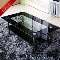 Schindora® Modern Tempered Glass Coffee Table Clear Black With Shelf Living Room Furniture