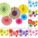 6 MIX Hanging Paper Flowers Party Fan Tissue Paper Fan Festival Party Wedding Home Birthday Decor -MultiColor