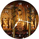 [Sponsored Products]Wall Clock 3D Golden Buddha 1. Wall Clock Watch Vintage Analogue Movement Wall Clock With Glass For Home / Kitchen / Living Room / Bedroom / Office Designer Wall Clock /Retro Vintage Hand Made 3D Wall Clock / Antique Clock Decorative