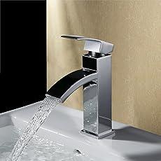 Homelody Chrom Mischbatterie Wasserfall Wasserhahn Armatur Bad Waschbeckenarmatur Einhebelmischer Badarmatur Waschtischarmatur Einhebel Waschtischbatterie für badzimmer