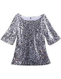 Eté Sweat-Shirts Blouse Fashion Paillette Haut Blouse Lâche Chemisiers  Femme Casual Col Rond Demi eed6403e8348