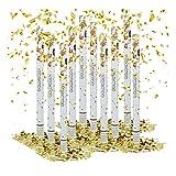 10 x Party Popper 80 cm im Konfettikanonen Set, Konfetti Bombe für Hochzeit und Geburtstag, Konfetti Shooter 6-8 m Effekthöhe, gold metallic