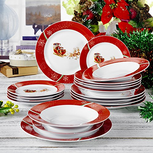 18-Piece Merry Christmas Sled Printed Porcelain Dinner Set 9.5  / 8.5  and 7.5  Dinner / Soup / Dessert Plate Service for 6 ... (Merry Christmas Sled) & Christmas Plate Set: Amazon.co.uk