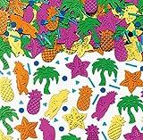 250-tlg. Metallic-Konfetti * Hawaii - Island Party * als glitzerndes Deko zum Geburtstag oder Mottoparty   Tischdeko Ananas Palmen Papagei Seesterne Karibik