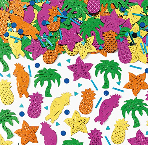 250-tlg. Metallic-Konfetti * Hawaii - Island Party * als glitzerndes Deko zum Geburtstag oder Mottoparty | Tischdeko Ananas Palmen Papagei Seesterne Karibik