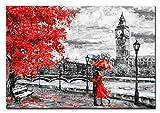 BERGER DESIGNS - Wandbild auf Leinwand als Kunstdruck in verschiedenen Größen. Gemälde als Kunstdruck von London mit Frau im roten Mantel und Regenschirm. Beste Qualität aus Deutschland (60 x 40 cm BxH)