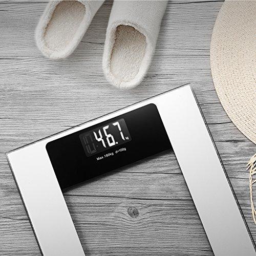 Deik Bilancia Pesapersone Digitale alta Stabilità Piattaforma Vetro Temperato con LCD Schermo Retroilluminato,Tecnologia Step-on, includere metro a nastro e batteria AAA, 5kg-180kg - 8
