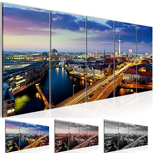 Bilder 200 x 80 cm - Berlin Bild - Vlies Leinwand - Kunstdrucke -Wandbild - XXL Format - mehrere Farben und Größen im Shop - Fertig zum Aufhängen - !!! 100% MADE IN GERMANY !!! - 605155a