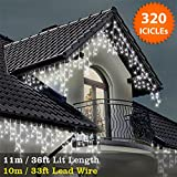 ICICLE Lights 320 LED Bright White Indoor & Outdoor Snowing Christmas Lights Fairy Lights 11m / 36 ft with 10m / 33 ft Lead Wire- Multi-Action - White Cable