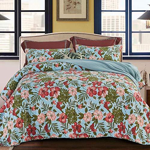 Flowing water 3-Piece Quilt Bedspread Cotton Patchwork Handmade Reversible Elegant Quilt Set Soft Bedspread Coverlet Set King